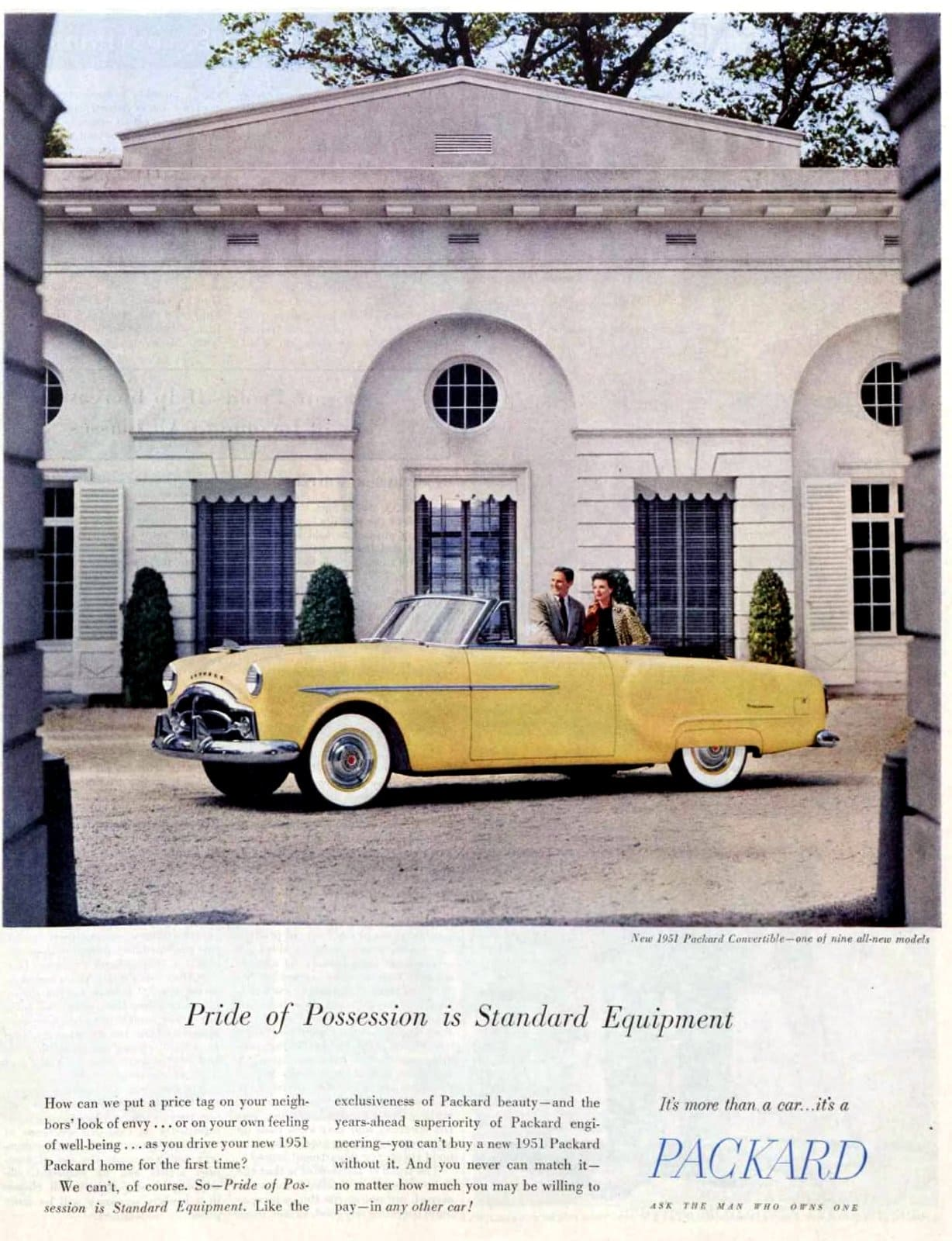 Vintage 1951 Packard Patrician 400 car in yellow