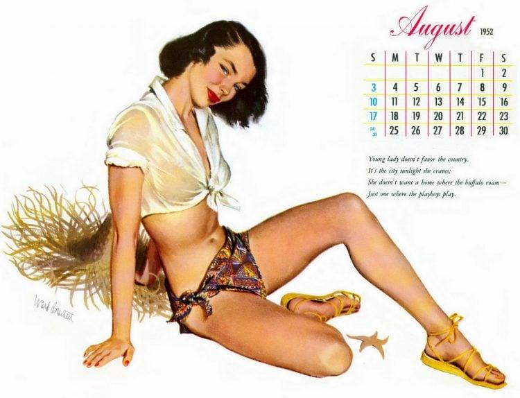 Vintage 1952 calendar girl pin-up by Ward Brackett