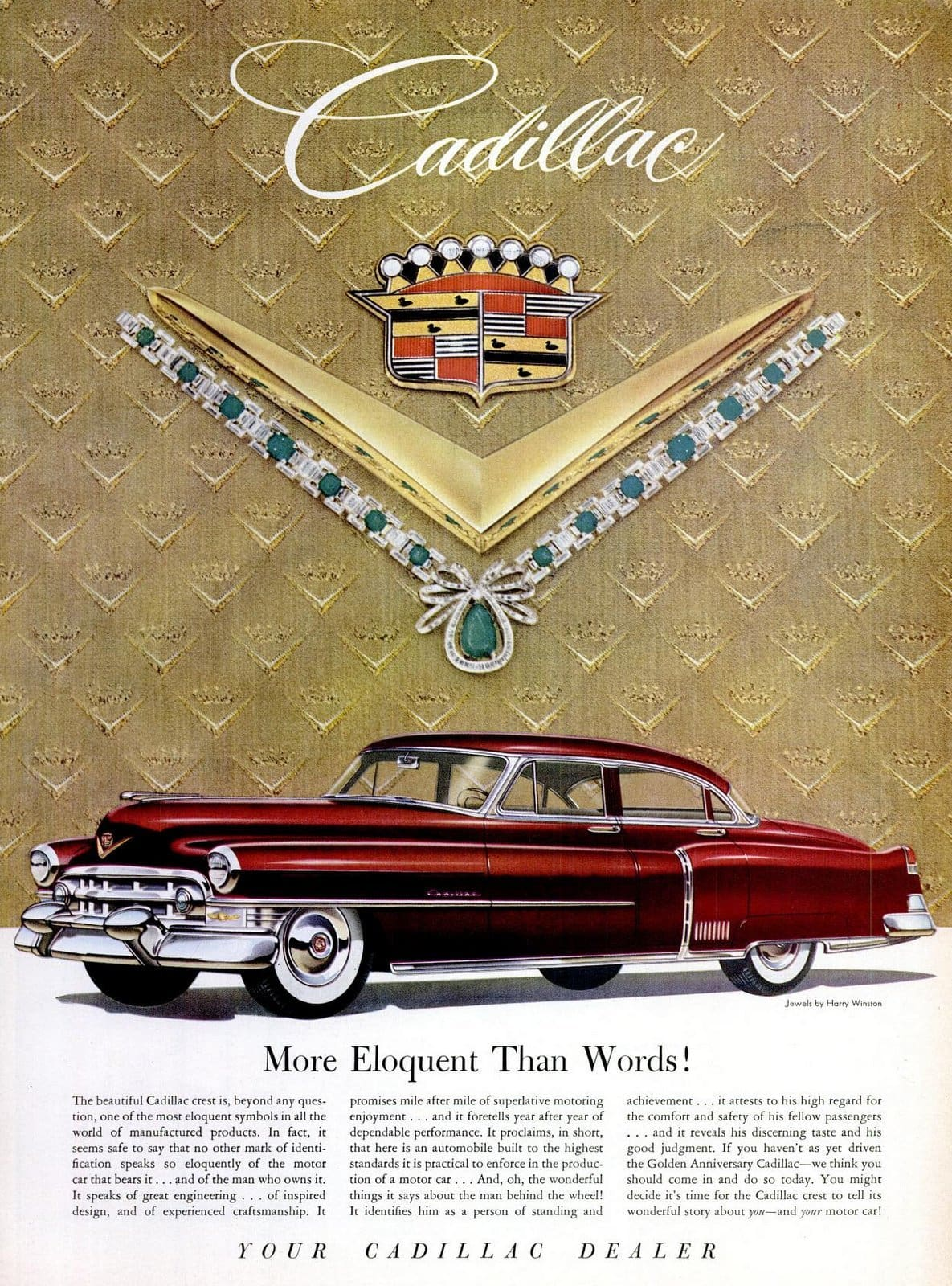 Vintage 1953 Cadillac in deep red