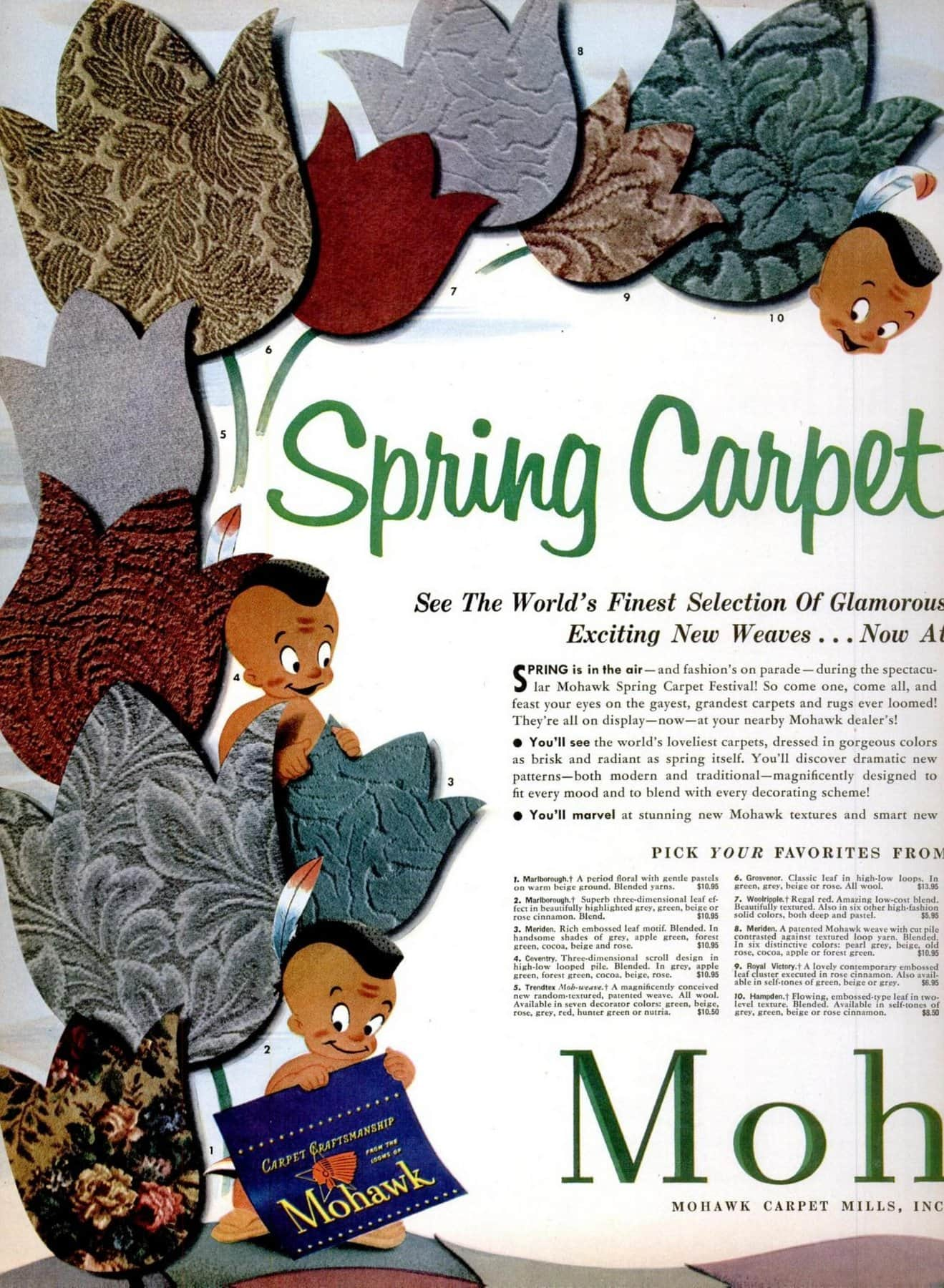Vintage 1953 Mohawk carpet including textured and carved styles (1)