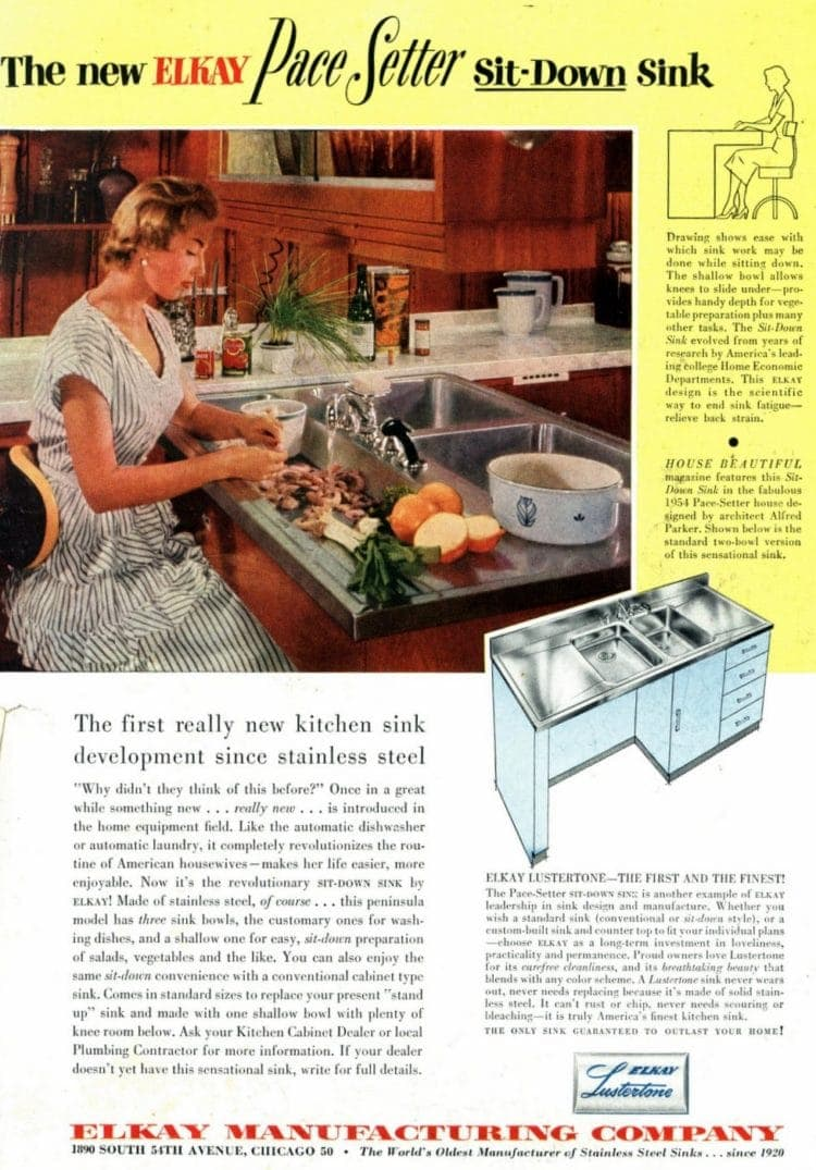 Vintage kitchen ideas with a 1954 Elkay Pace Setter sit-down sink - stainless steel