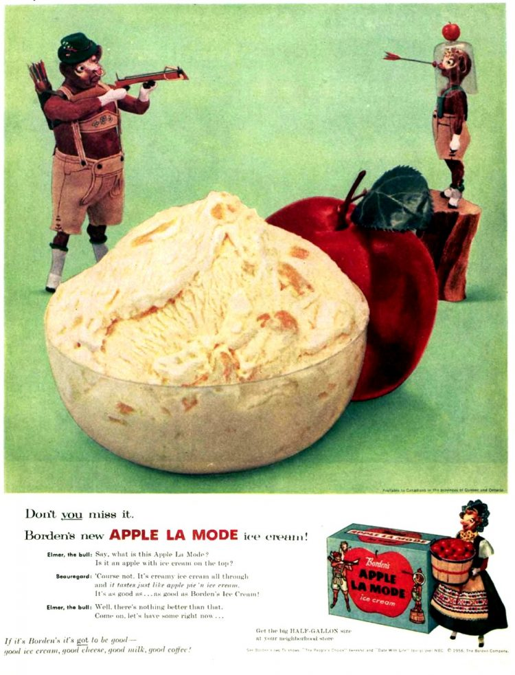 Vintage 1956 Borden's Appla La Mode ice cream from the 1950s
