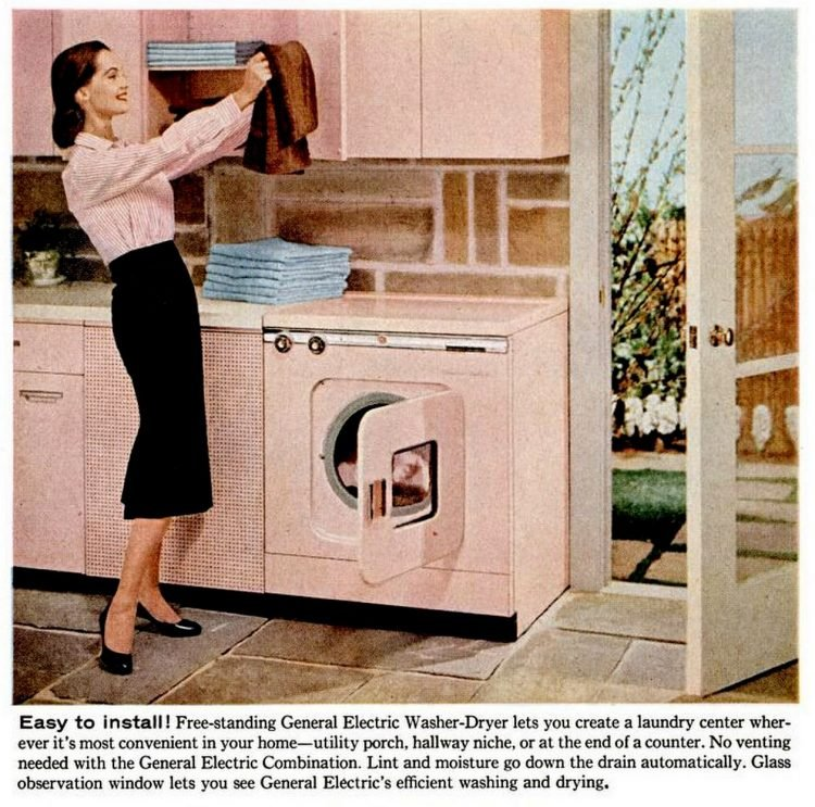 Vintage 1957 pink kitchen with pink washer-dryer