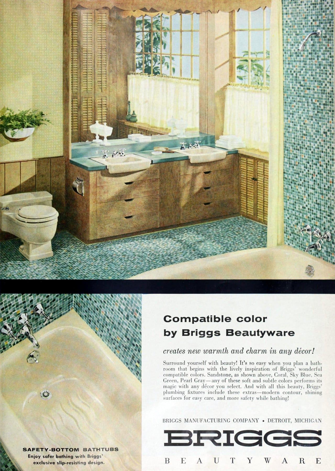 Vintage 1958 Briggs bathroom with aqua mosaic tile designs