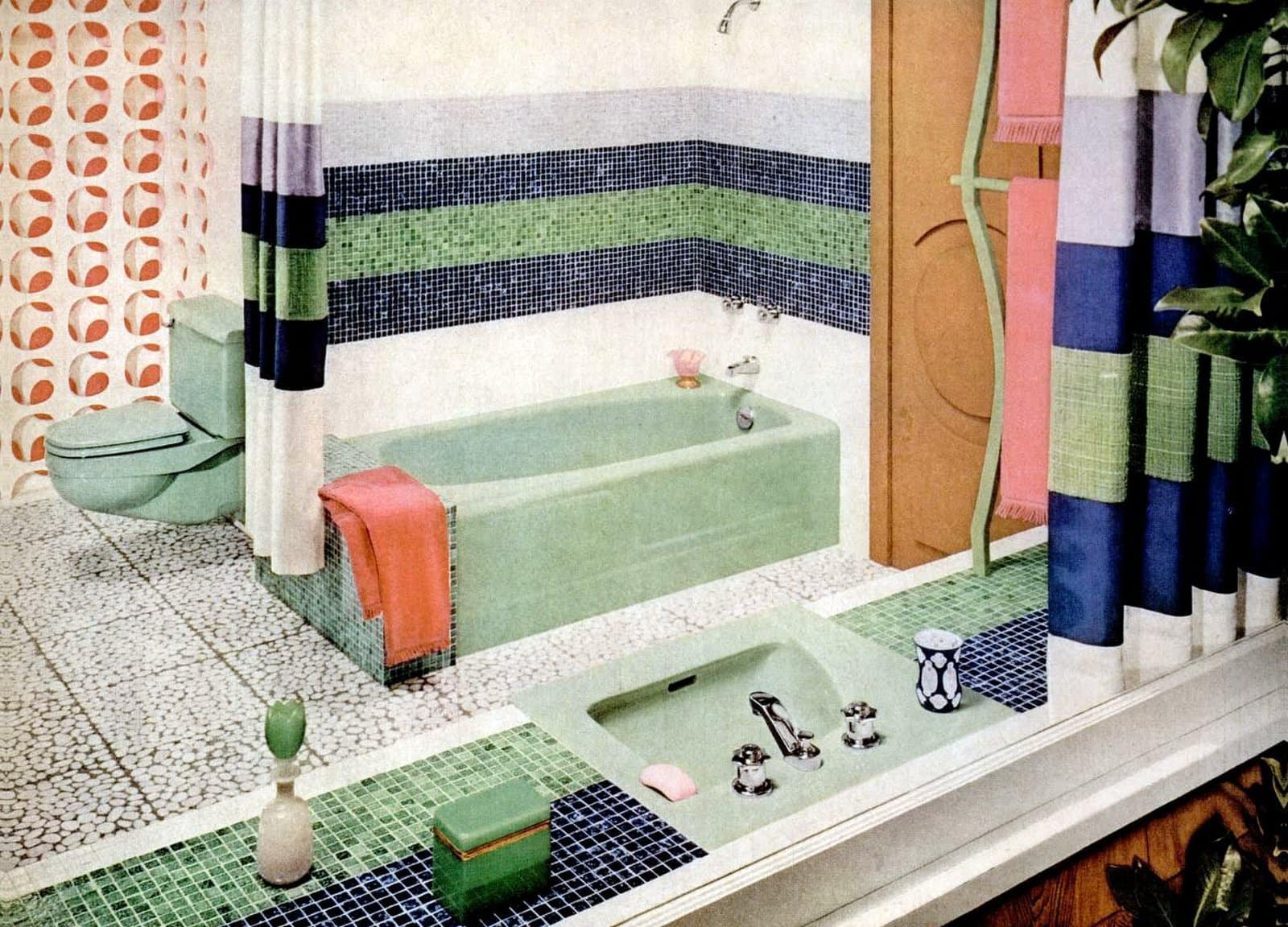 Vintage 1960 bathroom style with tile