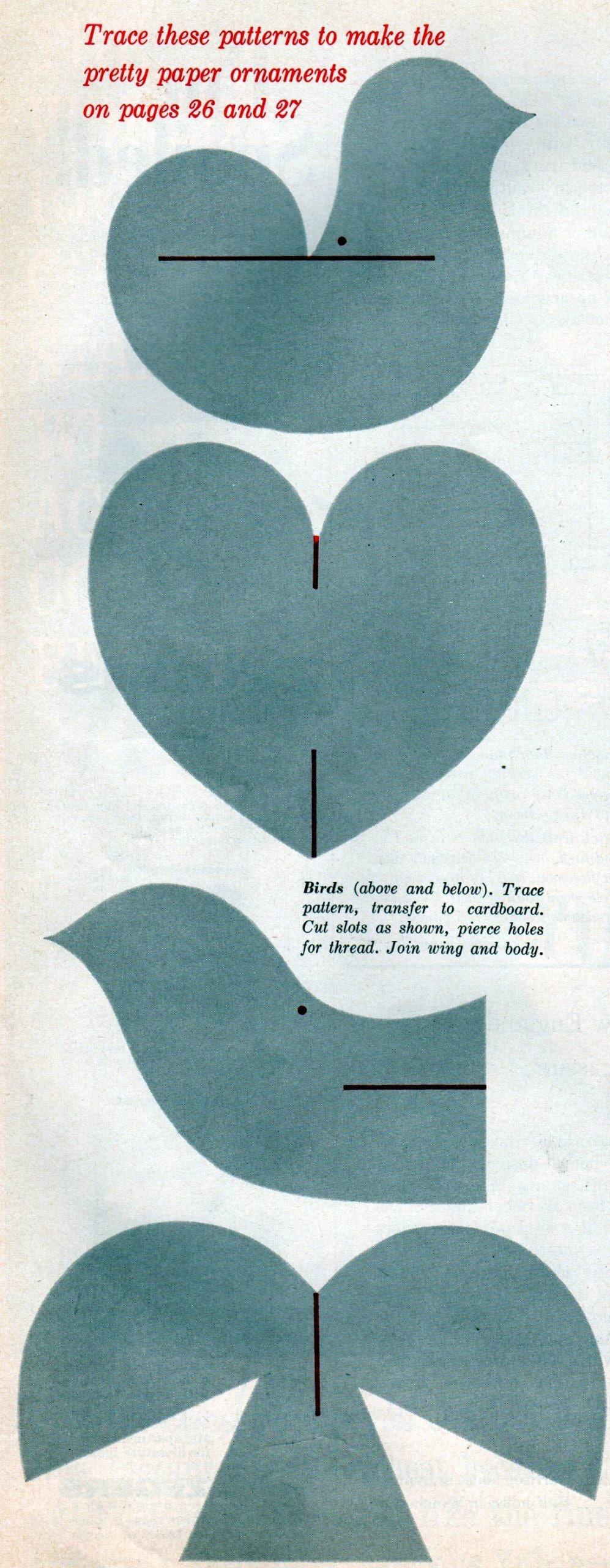 Vintage 1960 paper Christmas ornament craft diagrams (1)