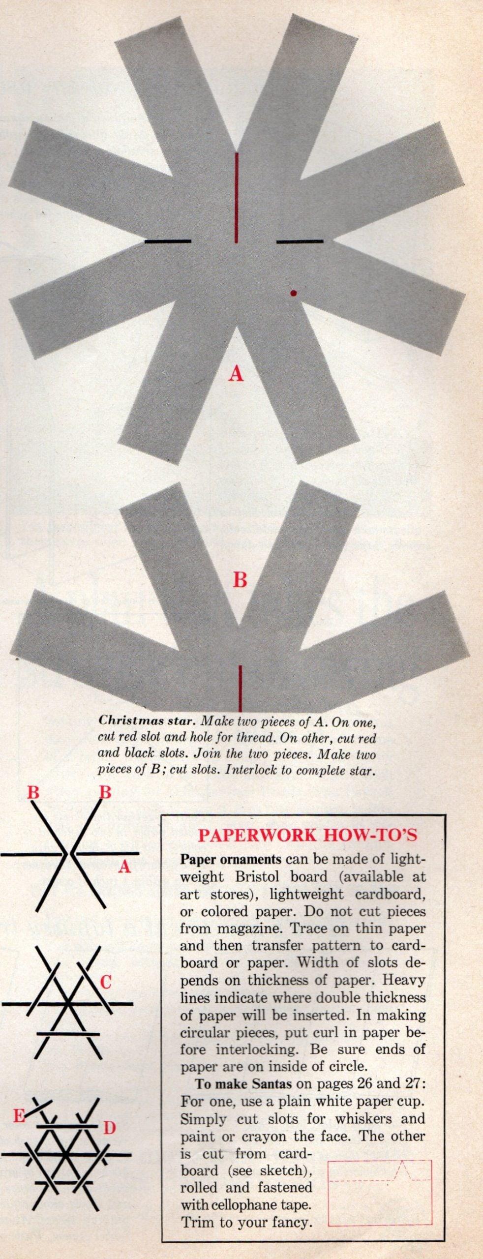 Vintage 1960 paper Christmas ornament craft diagrams (3)