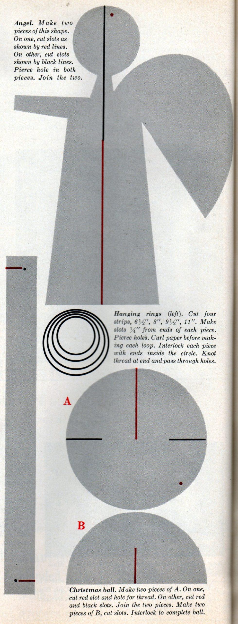 Vintage 1960 paper Christmas ornament craft diagrams (4)