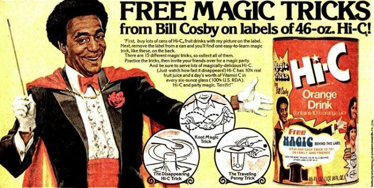 Vintage 1960s 1970s Hi-C Bill Cosby drink