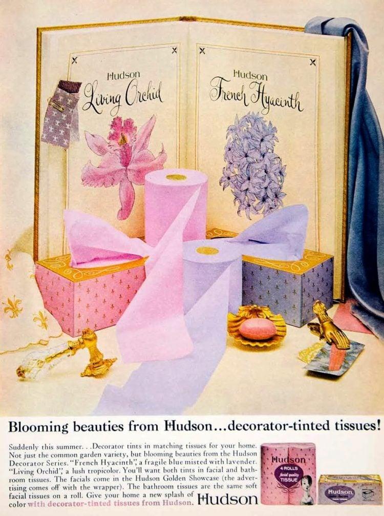 Vintage 1960s Hudson decorator tissues