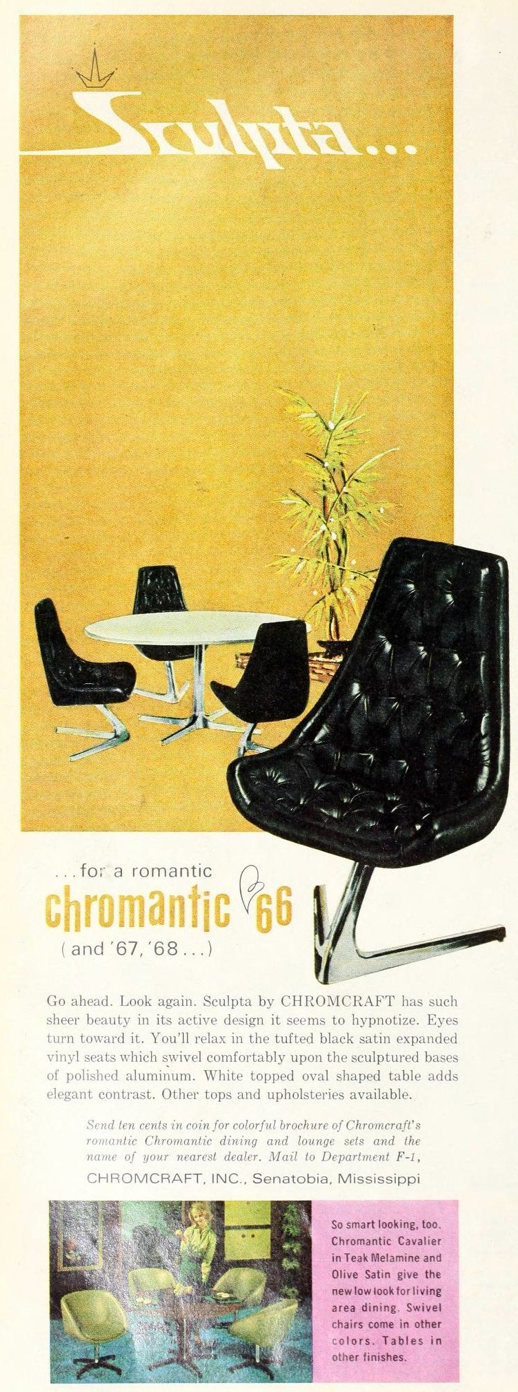 Vintage 1960s Sculpta Chromcraft black vinyl chair with silver aluminum base