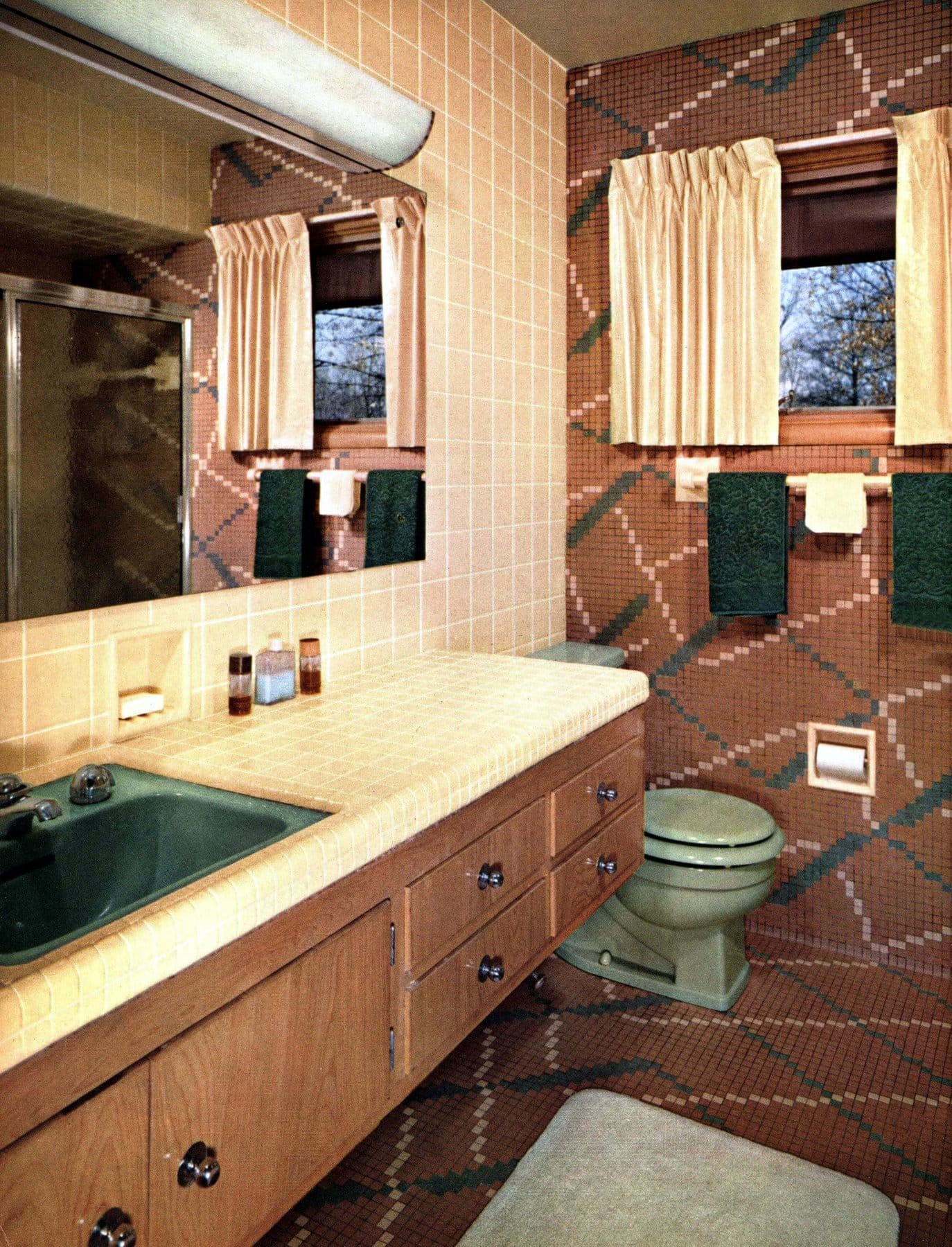Vintage 1960s brown and beige creatively tiled bathroom