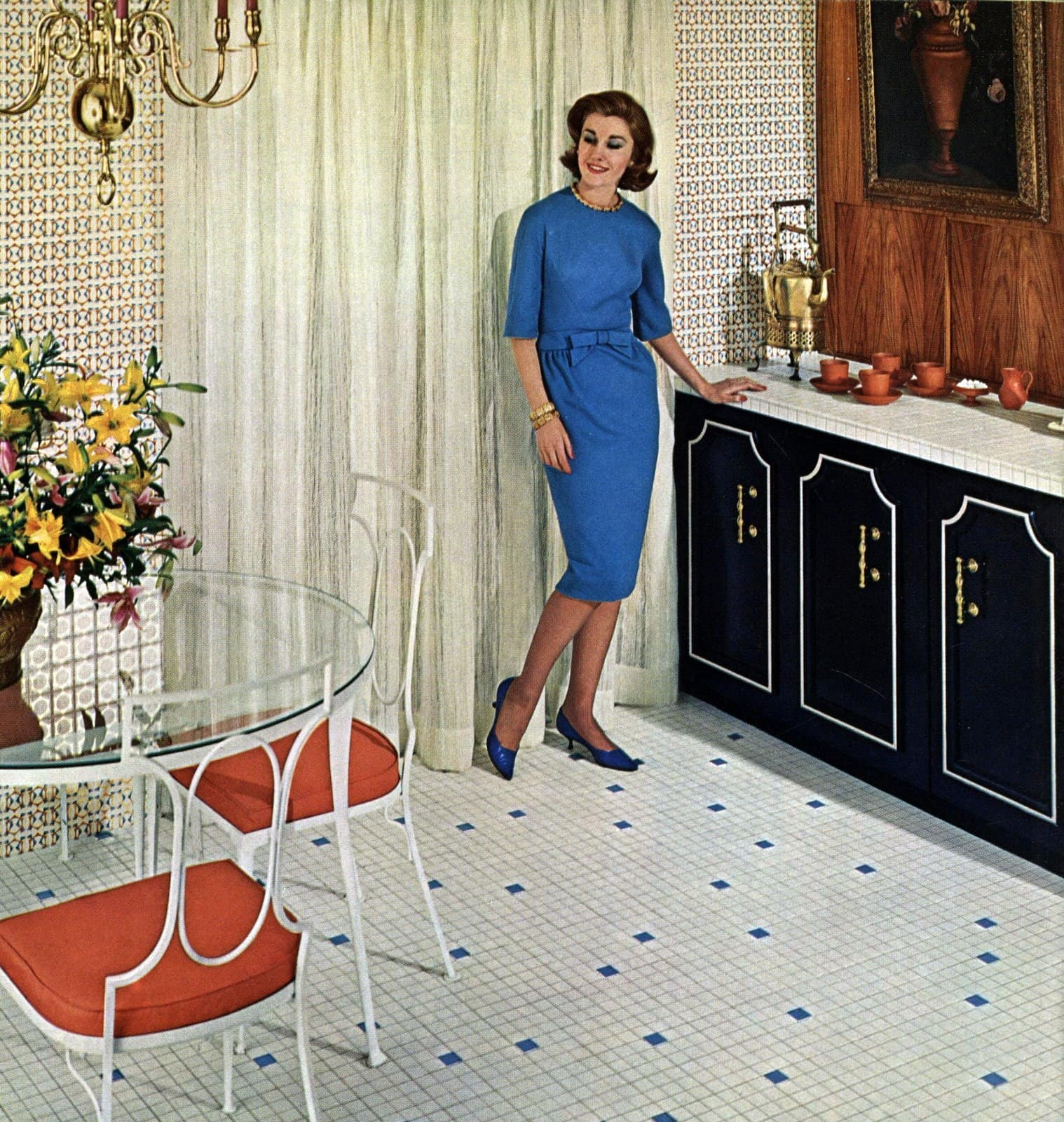 Vintage 1960s ceramic kitchen-dining area flooring and countertops