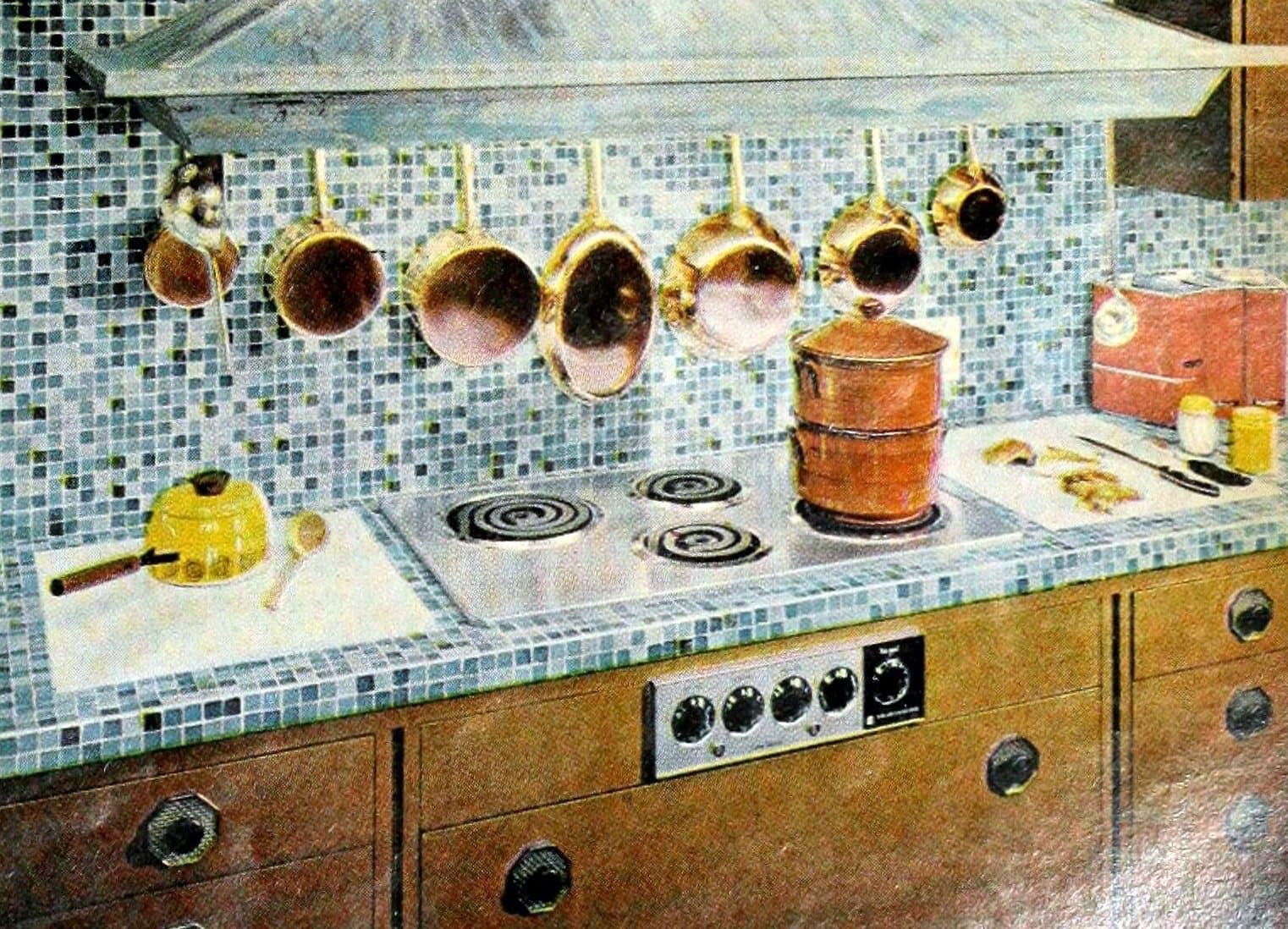 Retro 1960s ceramic mosaic tile design - kitchen countertop and backsplash
