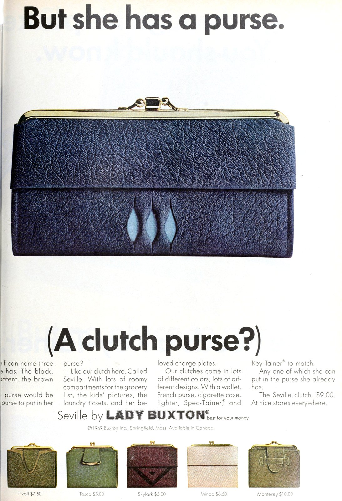 Vintage 1960s clutch purse wallet - blue Seville by Lady Buxton (1969)