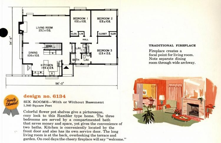 Vintage 1960s home plan 6134 (2)