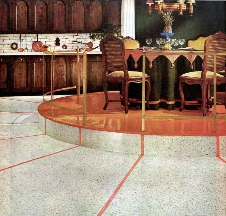 Vintage 1960s kitchen designs - elevated step-up dining areas (1)