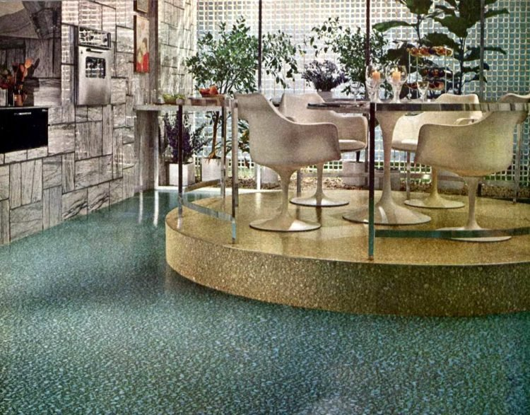 Vintage 1960s kitchen designs - elevated step-up dining areas (2)