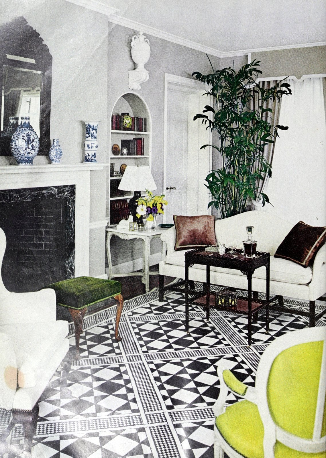 Vintage 1960s living room decor in black and white with green accents