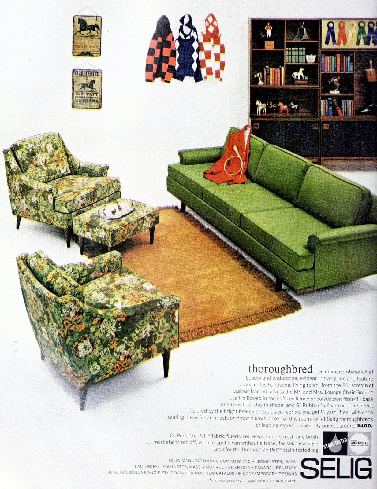 Vintage 1960s living room decor with green sofa and two green floral-pattern chairs (1962)