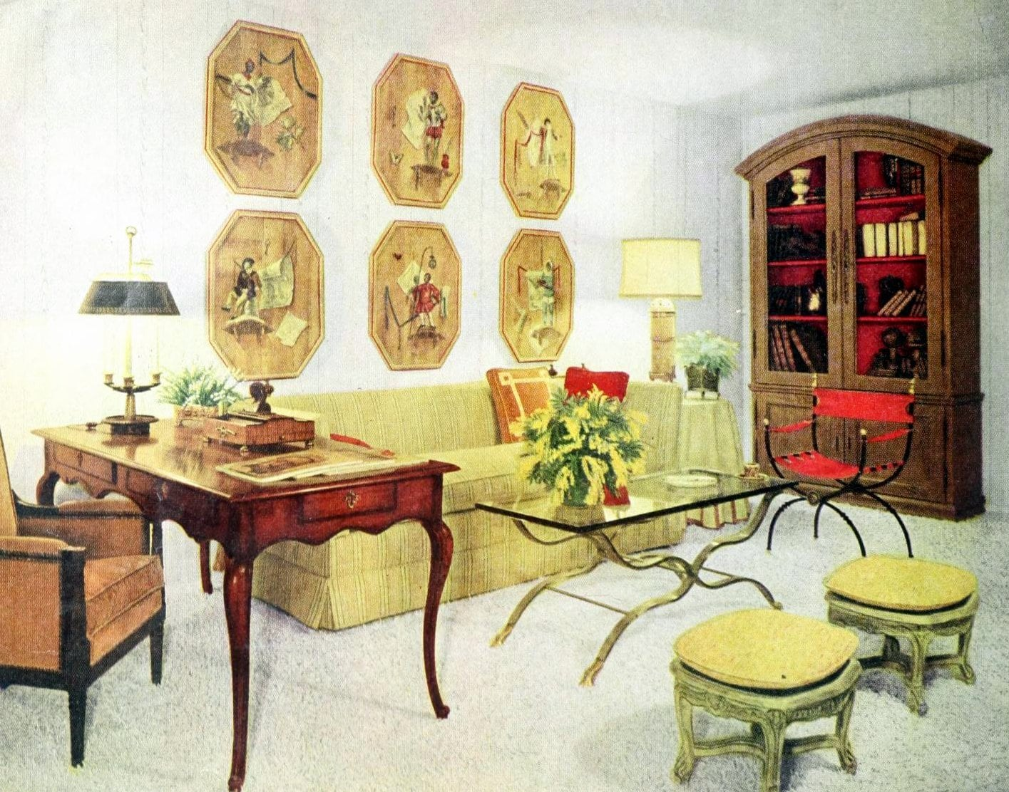 Vintage 1960s living room decor with high-end furnishings