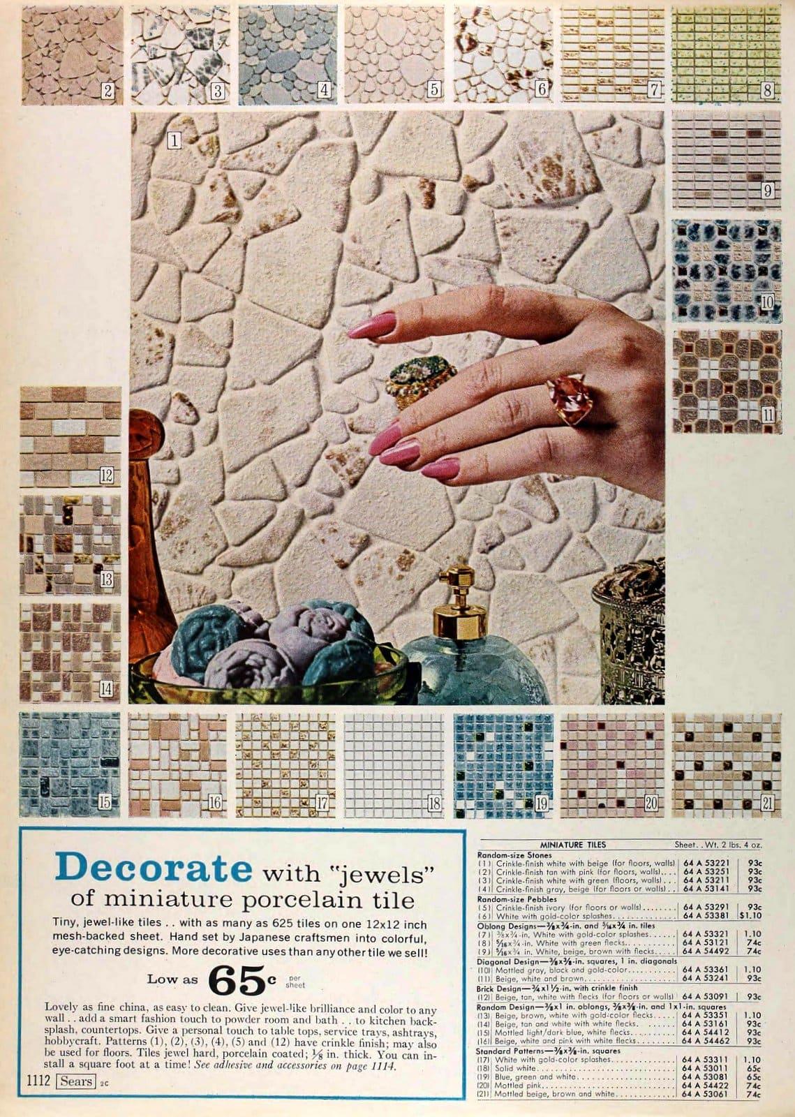 Vintage 1960s miniature porcelain tile styles (1967)