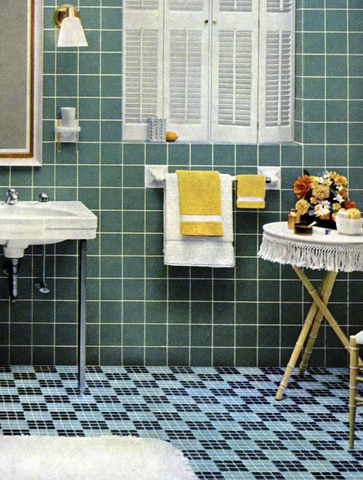 Vintage 1960s tiled bathroom decor (1962)