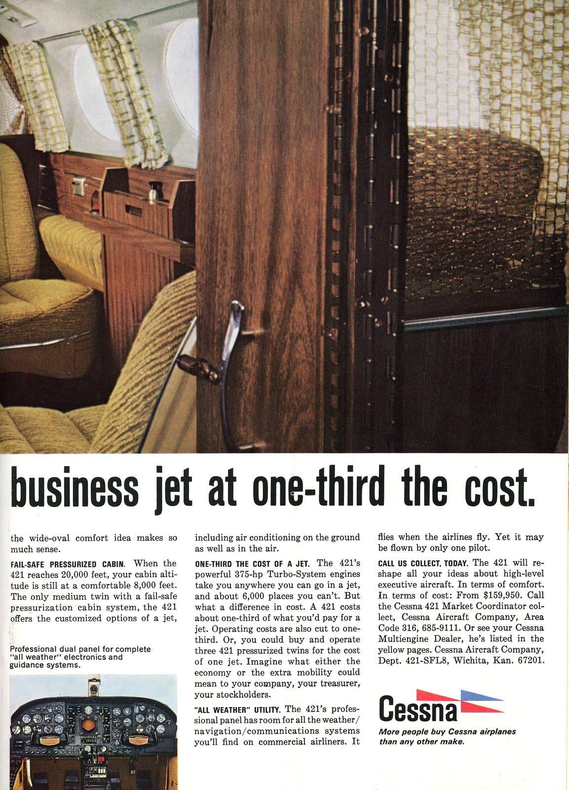 Vintage 1967 Cessna 421 plane interior views (1)