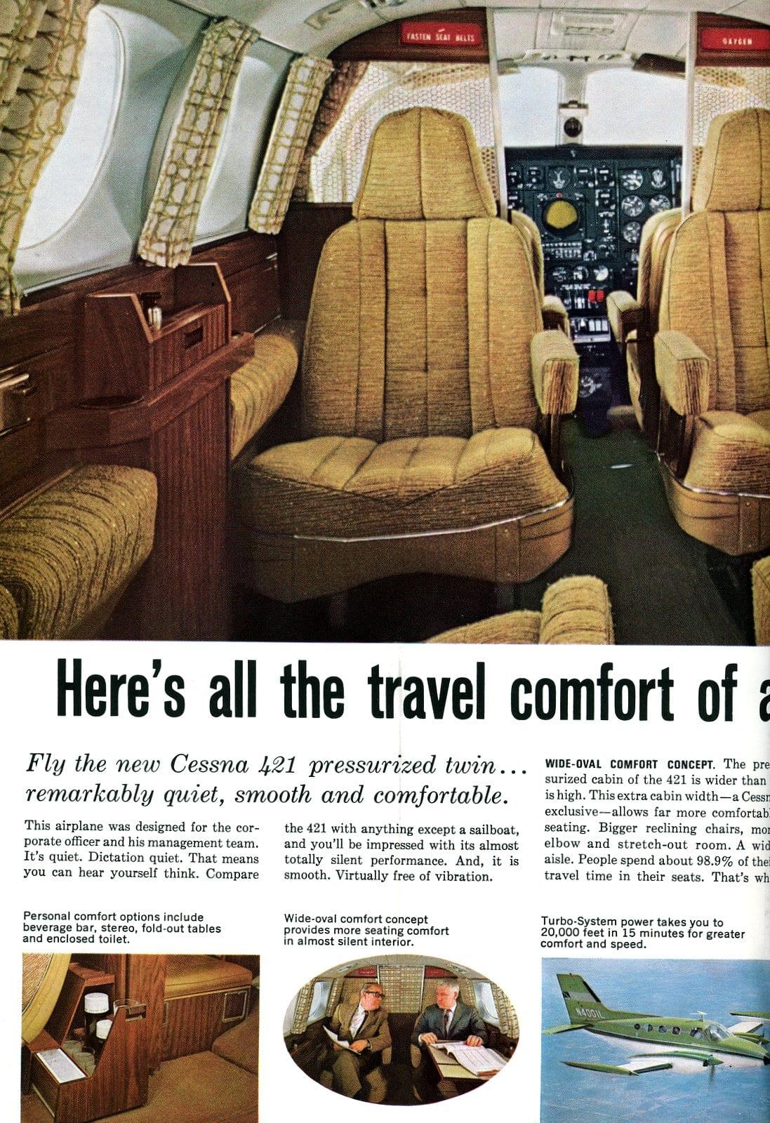 Vintage 1967 Cessna 421 plane interior views (2)