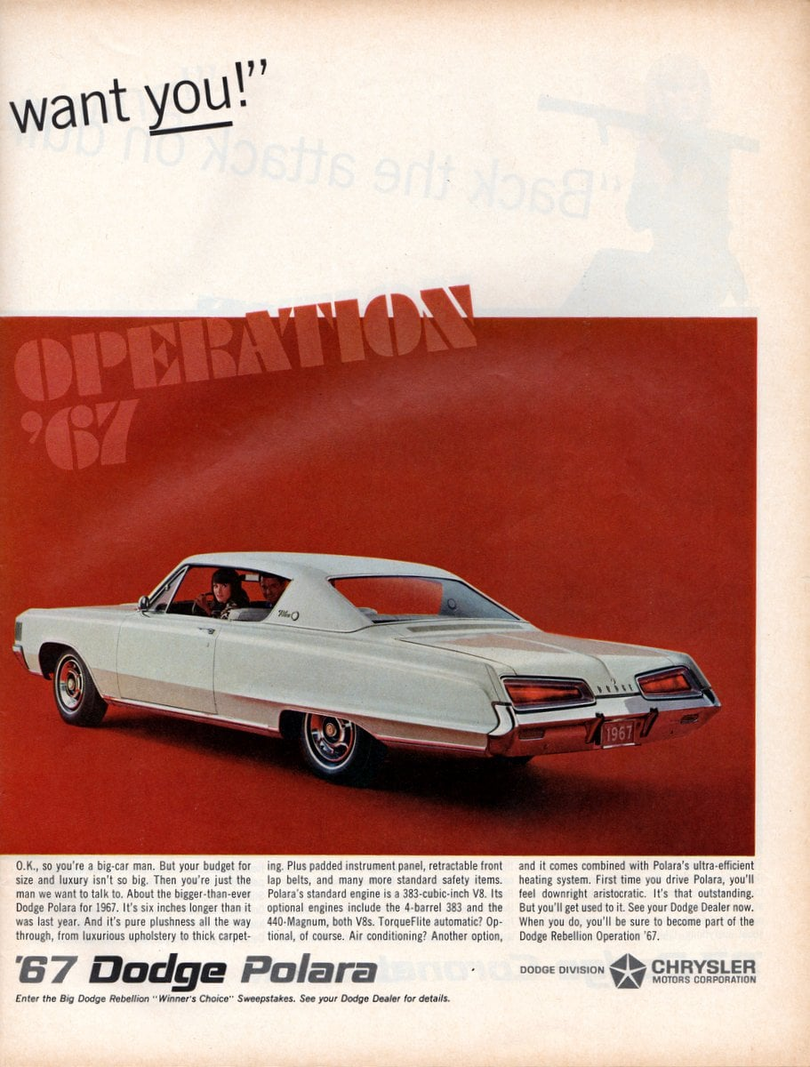 Vintage 1967 Dodge Polara car ad