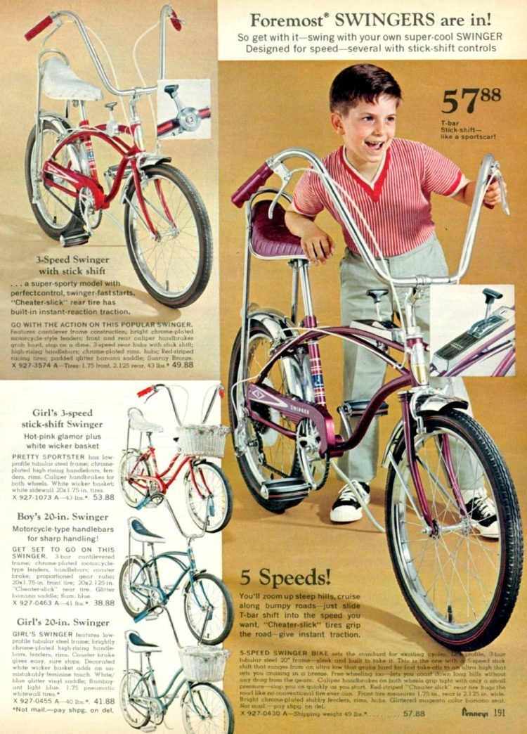 Vintage 1969 Foremost Swinger vintage banana seat bikes for boys and girls at JC Penney