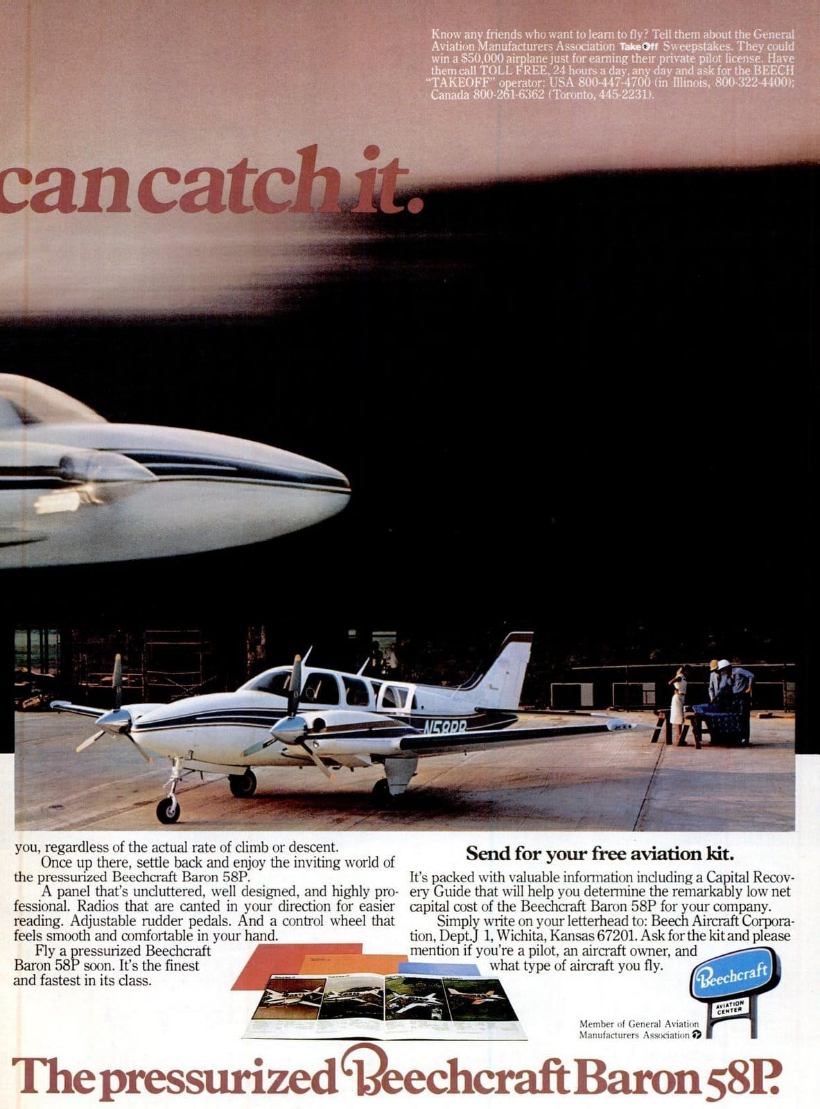 Vintage 1970s Beechcraft Baron 58P airplanes from 1978 (2)
