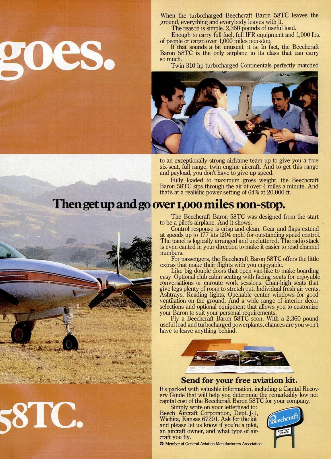Vintage 1970s Beechcraft Baron 58TC planes from 1978 (1)