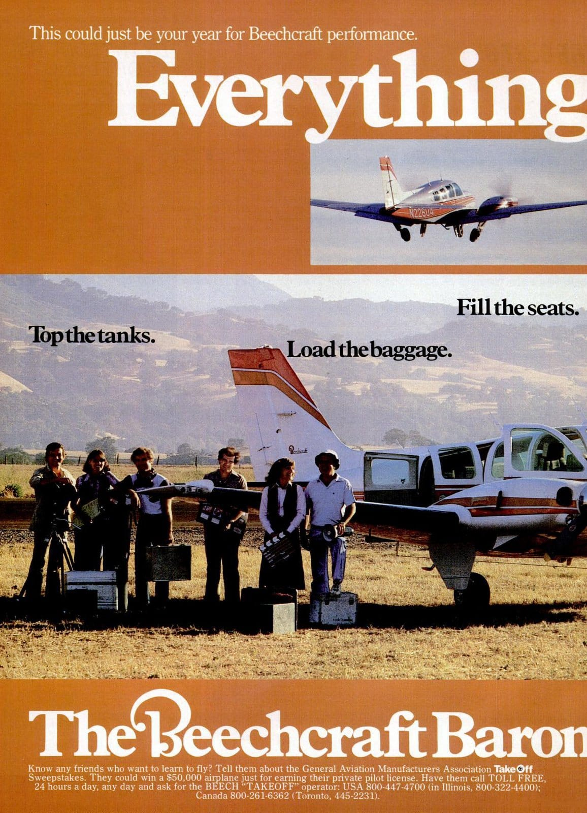 Vintage 1970s Beechcraft Baron 58TC planes from 1978 (2)