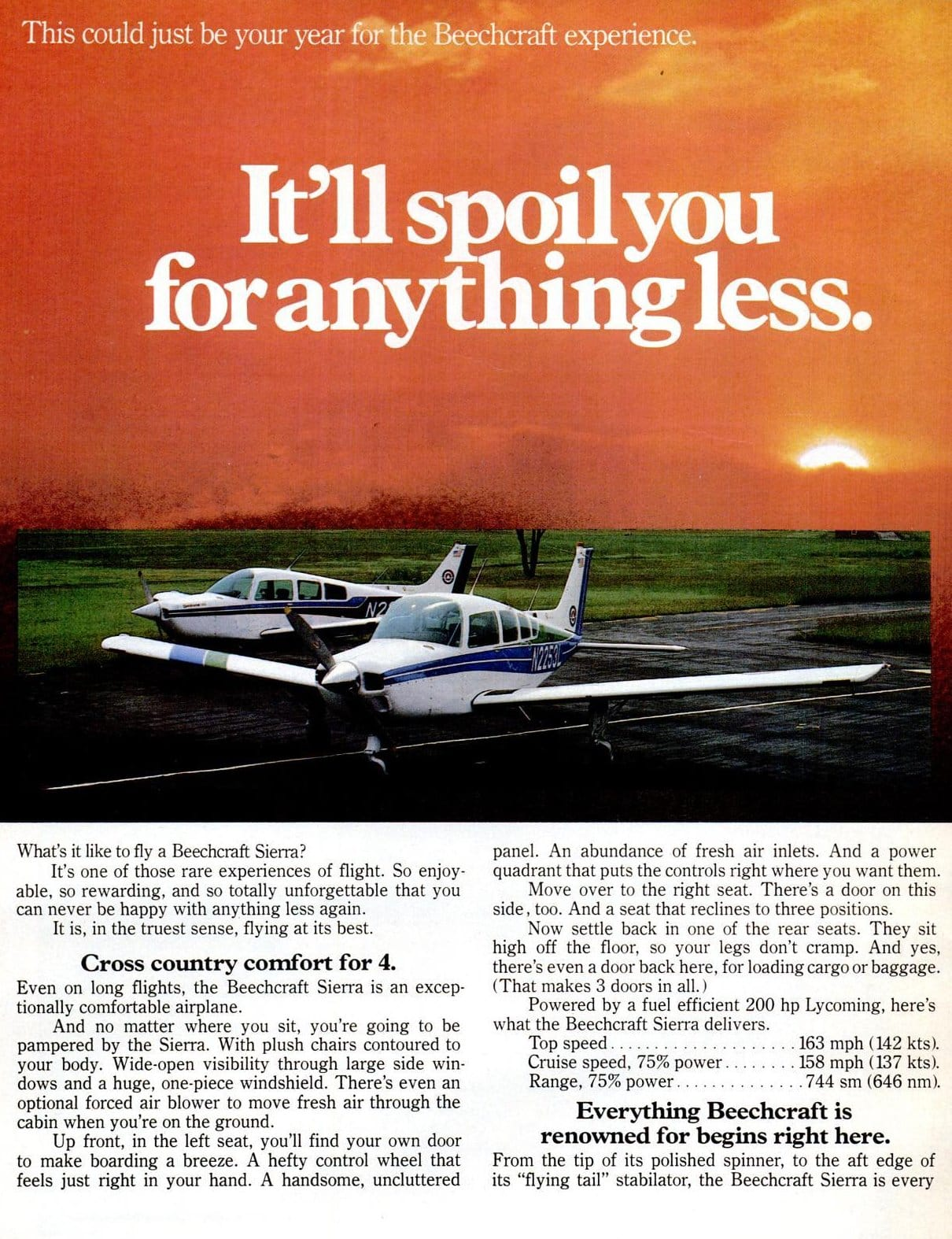 Vintage 1970s Beechcraft Sierra airplanes from 1978 (2)