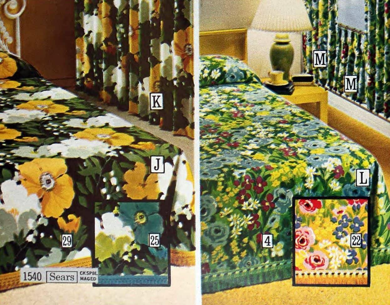 Vintage 1970s Blossomtime and Rose Garden patterned bedspreads