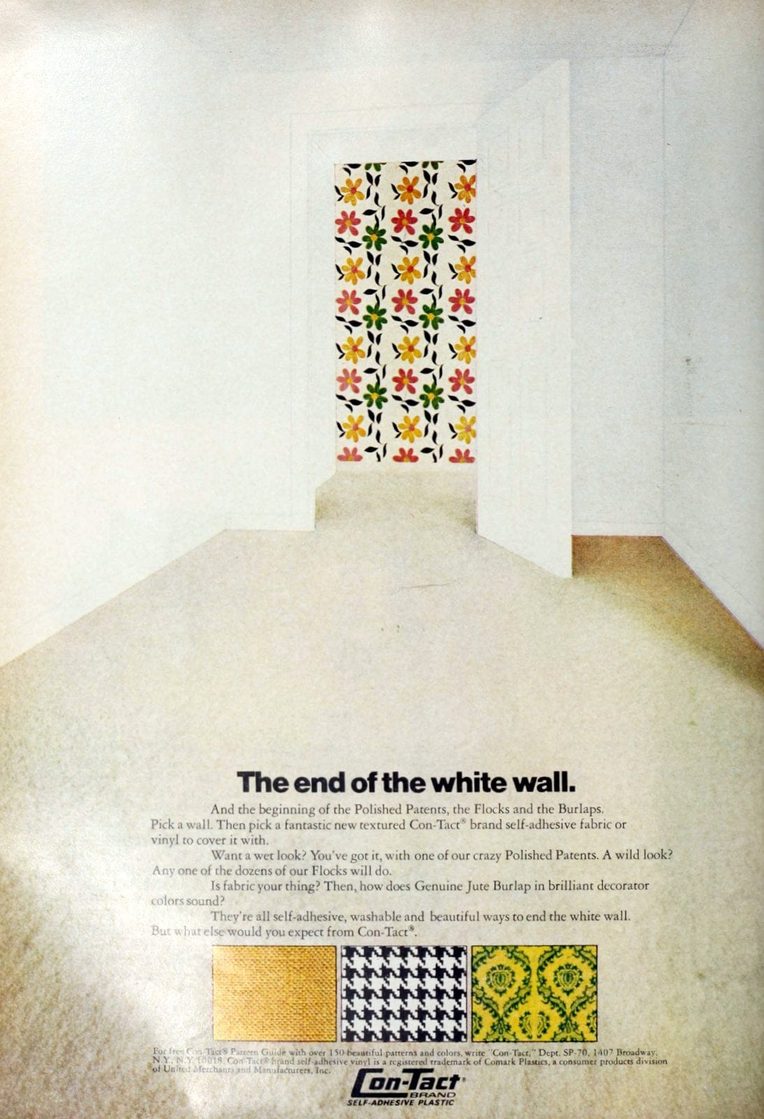 Vintage 1970s Con-Tact vinyl wall decor