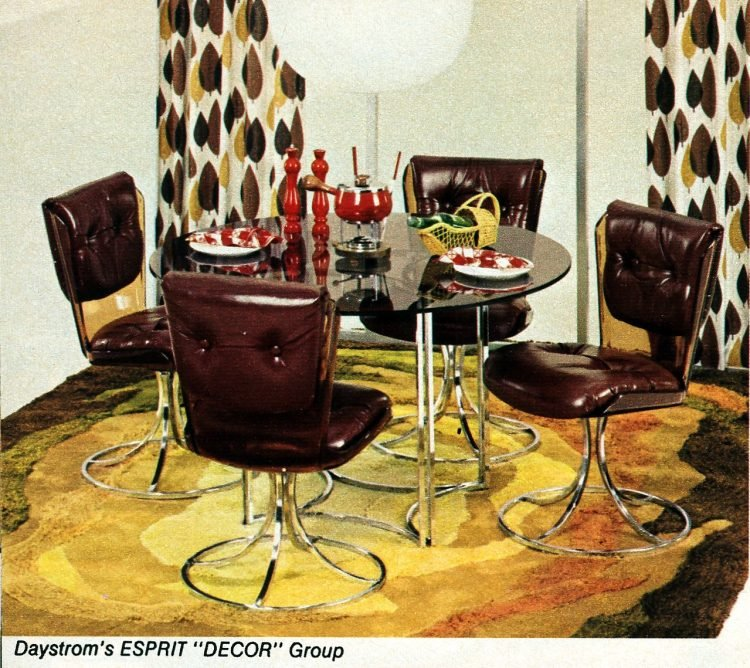 Vintage 1970s Esprit Decor group glass dinette table with padded chairs