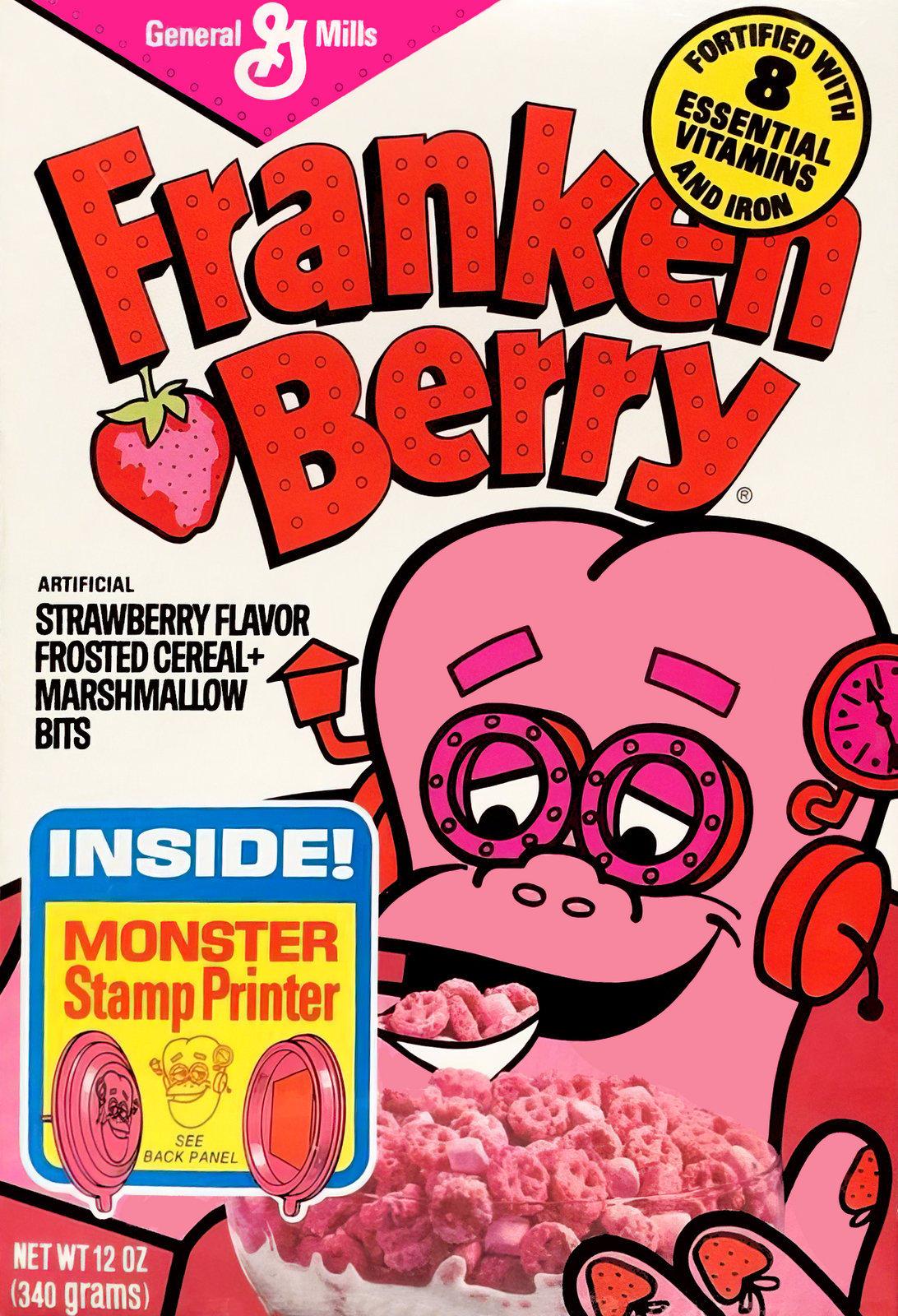 Vintage 1970s Franken Berry strawberry cereal