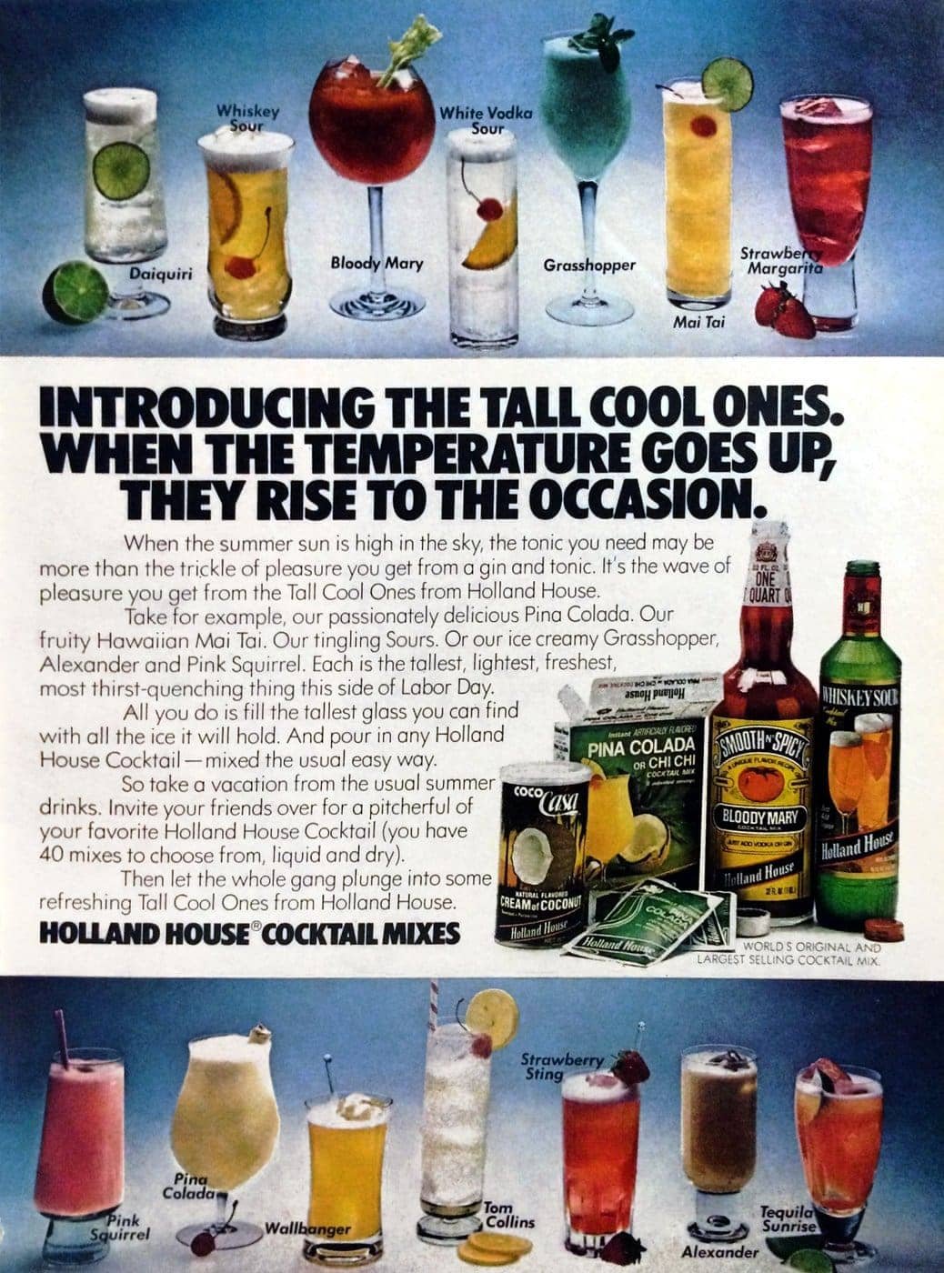 Vintage 1970s Holland House cocktail mixes