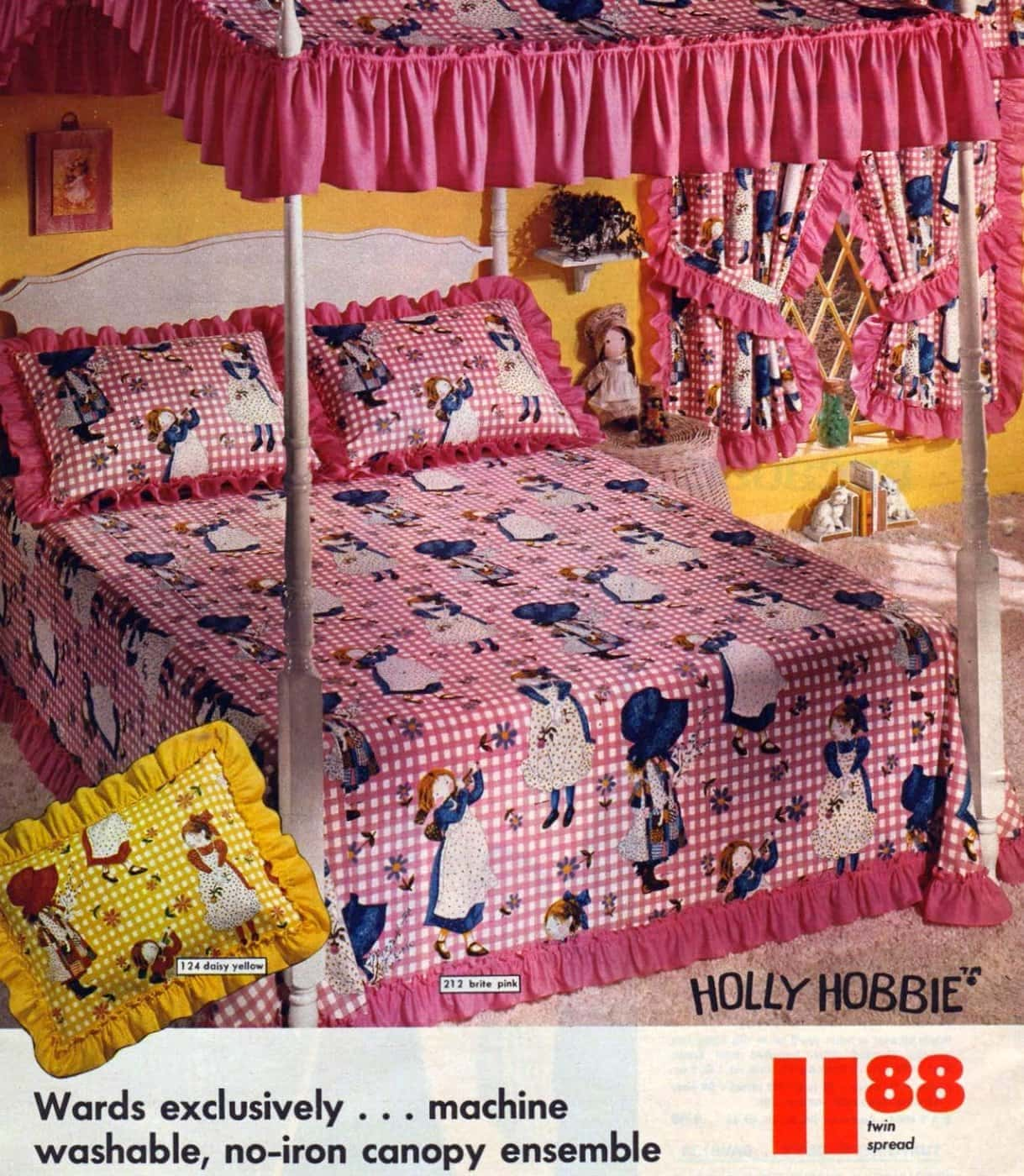 Vintage 1970s Holly Hobbie canopy bed in pink or yellow