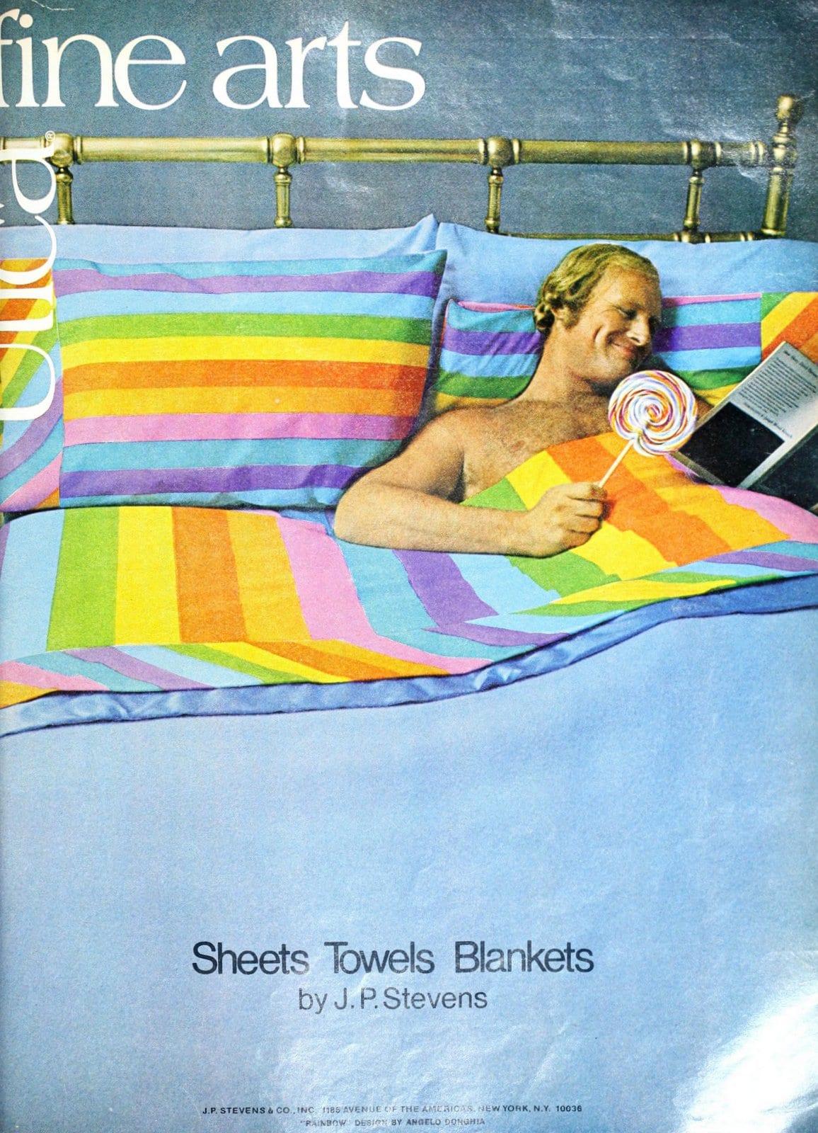 Vintage 1970s JP Stevens candystriped bedsheet design