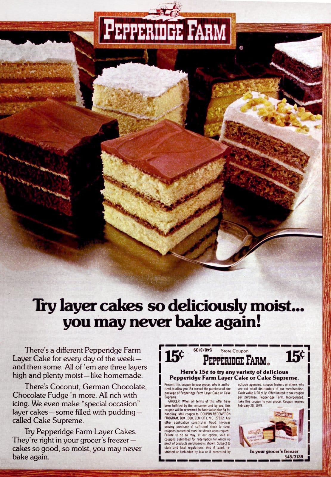 Vintage 1970s Pepperidge Farm layer cakes (1978)