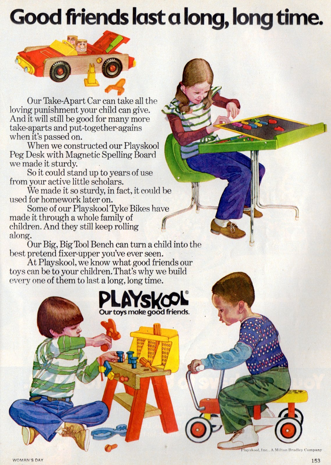 Vintage 1970s Playskool toys - Take-apart car - Tyke Bikes - Tool Bench - Desk