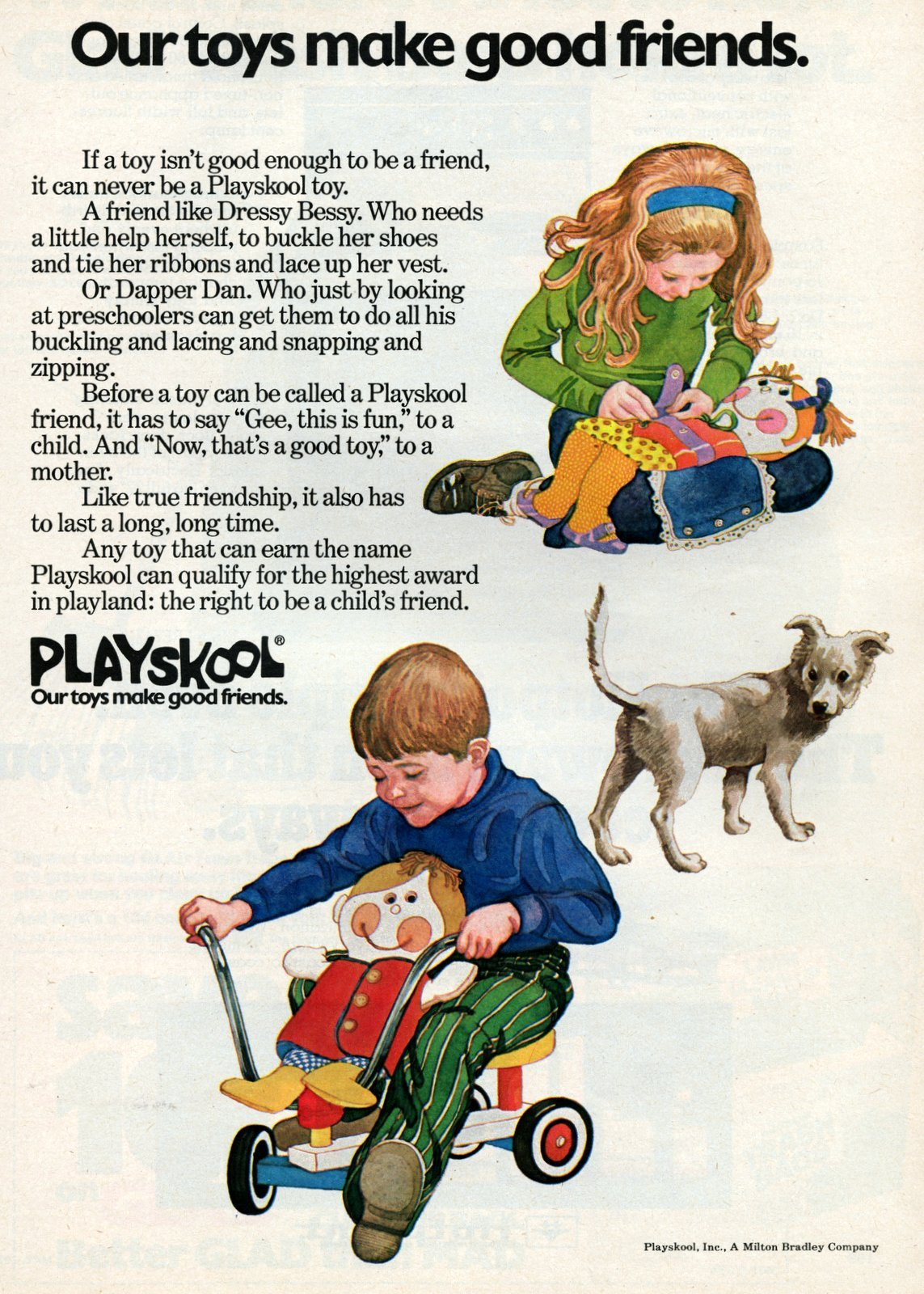 Vintage 1970s Playskool toys make good friends (1974)
