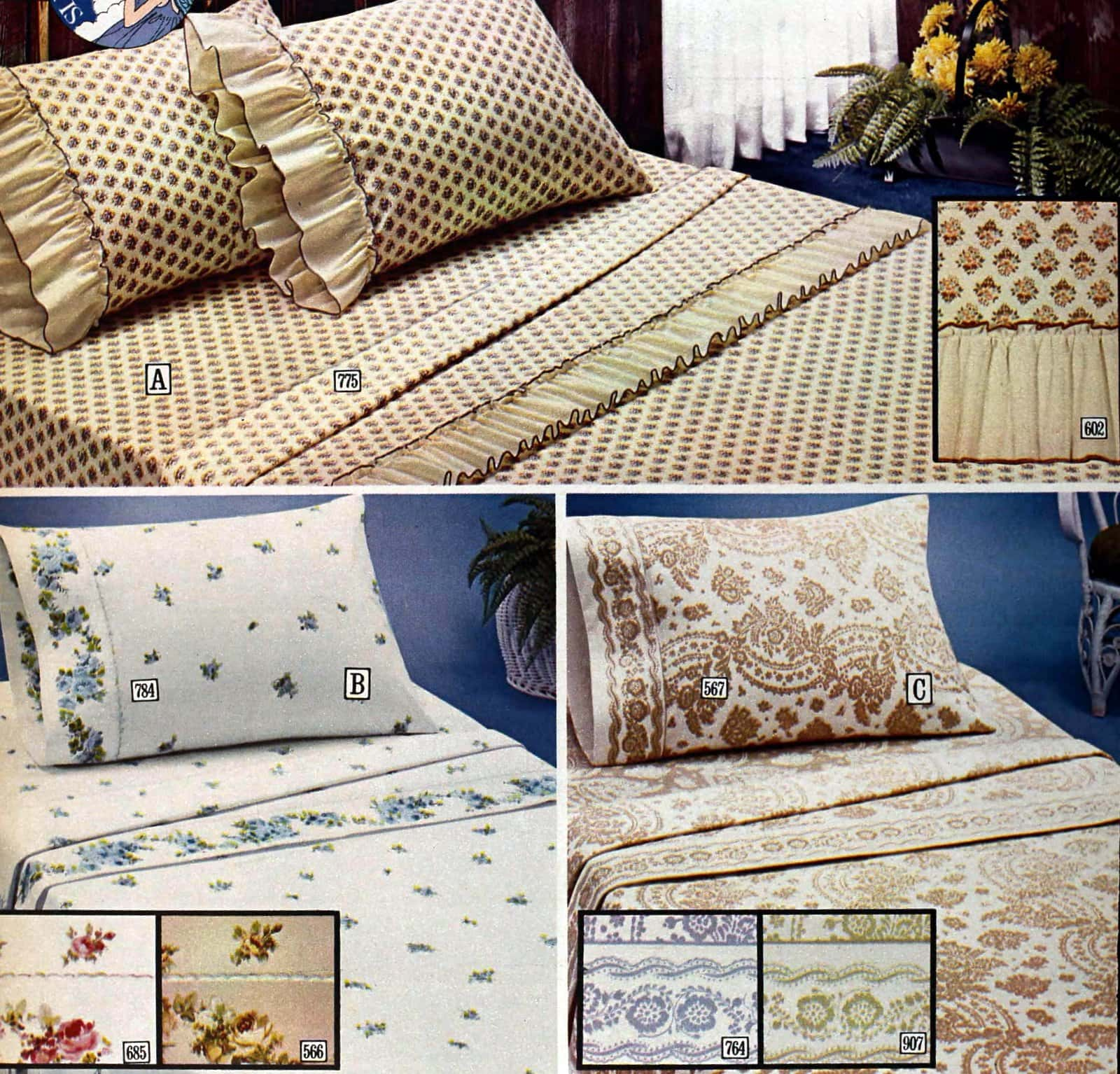 Vintage 1970s bedding and sheets with classic and country patterns
