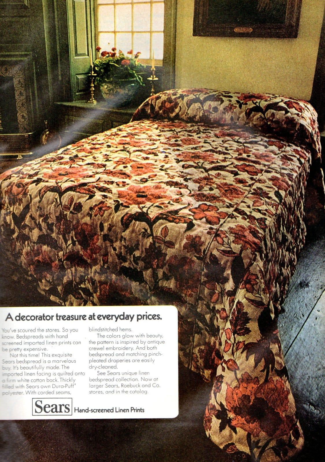 Vintage 1970s bedspreads - Hand-screened linen prints (1971)