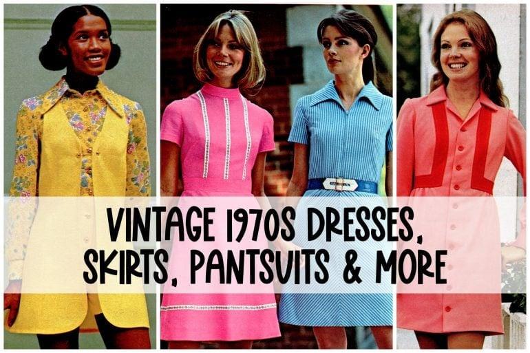 Vintage 1970s dresses, skirts, pantsuits