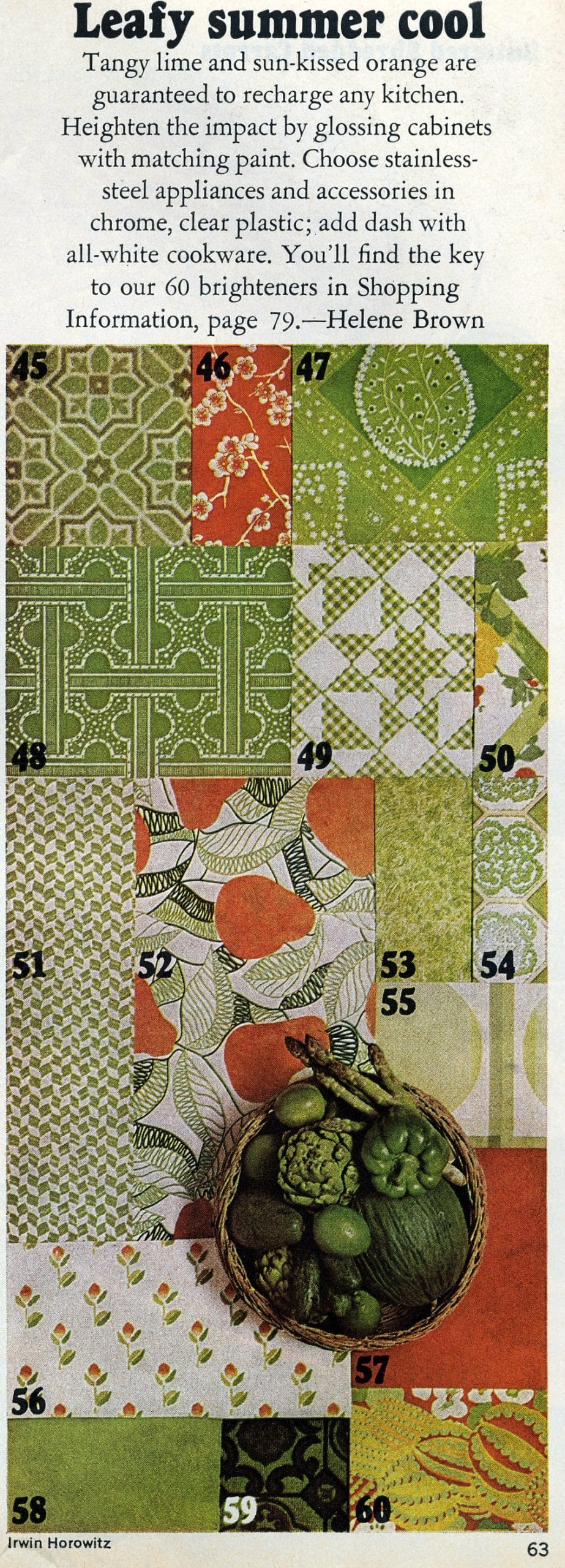 Vintage 1970s kitchen decor colors and patterns - Leafy summer cool