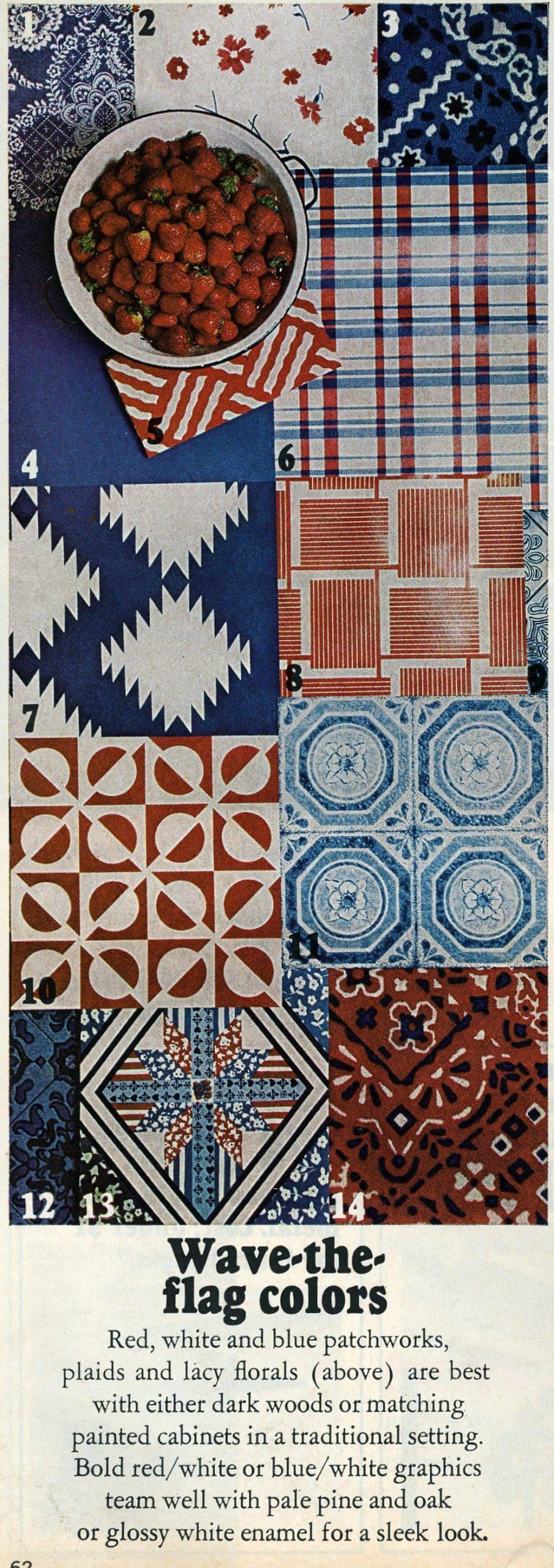 Vintage 1970s kitchen decor colors and patterns - Wave-the-flag colors